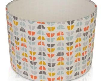 Fryett's Odense Burnt Orange Scandi/Retro  Cotton Print Lampshade,Ceiling Pendant,Table Lamp