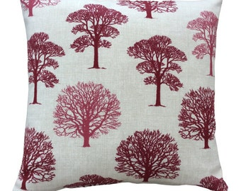 Wine Red/ Raspberry Two tone Trees // Filled Cushion // Various Sizes