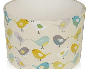 Fryetts Bergen Scandi Birds Ochre and Teal Cotton Print Lampshade,Ceiling Pendant,Table Lamp
