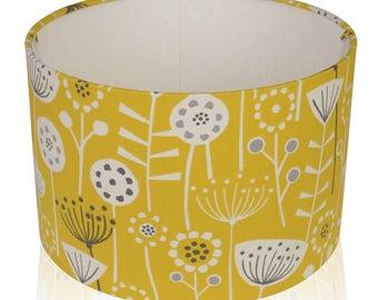 Fryetts Bergen Scandi flower Ochre Mustard  Cotton Print Lampshade,Ceiling Pendant,Table Lamp