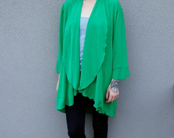 80's Vintage Bohemian Floaty Top in Green Onesize