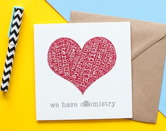 valentines card, love card, chemistry, periodic table, puns, heart shape, rare earth, boyfriend valentine, love card, just because card