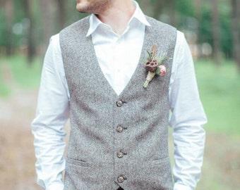Men's vest Wedding tweed waistcoat for men. Brown herringbone waistcoats. Custom made grey vests. Wool vest men.
