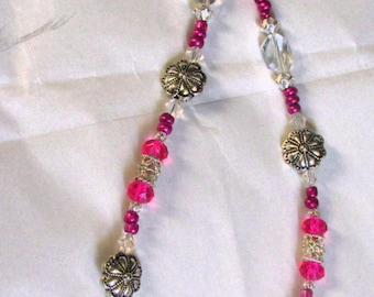 Sparkly Pink, Fuscia and Silver Beaded Necklace with Toggle Clasp
