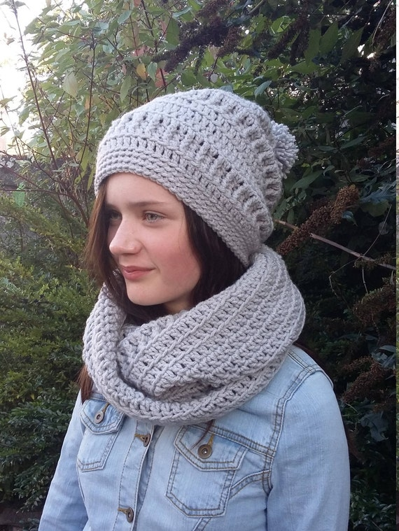 a89e3794a22 Grey Hat and Scarf Set Ladies Winter Hat and Scarf