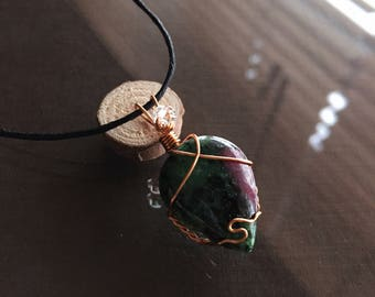 Ruby Zoisite and Herkimer Diamond Necklace, Ruby Zoisite Necklace