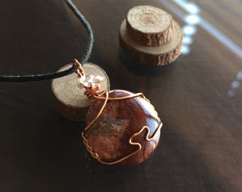 Crazy Lace Agate Necklace, Crazy Lace Agate and Herkimer Diamond Necklace