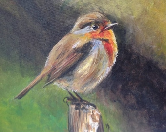 Robin, acrylic on canvas board. Perfect for in wunderkammer or vintage style room.