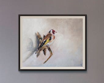 Goldfinch on canvas board, for wunderkammer or clean style living room, vintage