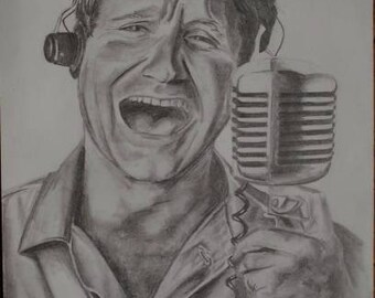 Late Robin Williams in Goodmorning Vietnam, original pencil drawing