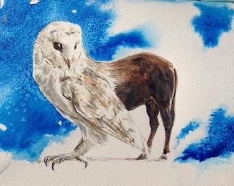 Hippogriff barn owl quarter horse original watercolor painting, sci-fi, fantasy, mythology