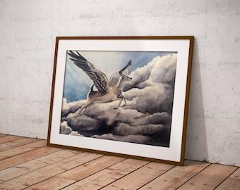 Peryton, periton, deer with wings, aquarelle, watercolour