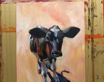 Cow, calf, impressionistic painting. Both print on forex and original artwork available: 30x40cm.