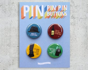 White Collar Button Set / TV Show Buttons / Pinback Buttons / Gift Set