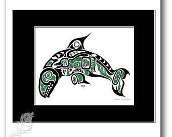 "8x10 ""Pacific Dream"" - Pacific Northwest Coast Killer Whale, Orca Art Print -  in GREEN"