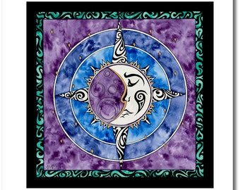 """Fine Art India Ink Moon Painting - Limited Edition - """"Stained Glass"""" Collection - """"Renea's Moon"""" - 16x16 Giclee Print"""