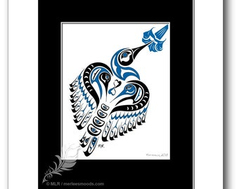 "Haida Style Hummingbird Art Print - ""Matriarch"" -  Pacific Northwest Coast Style Hummingbird Art Print - 8x10, BLUE"