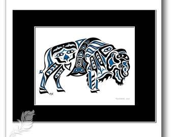 "Haida Style Buffalo Art Print - ""Thunderer"" -  Pacific Northwest Coast Style Bison Art Print - 8x10, BLUE"