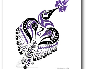 "Haida Art Style Hummingbird ""Matriarch"" - 11x14 Pacific Northwest Coast Style Hummingbird Art Print (Choose your color)"