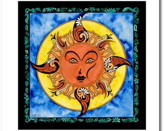"""Fine Art India Ink Sun Painting - Limited Edition - """"Stained Glass"""" Collection - """"Renea's Sun"""" - 16x16 Giclee Print"""