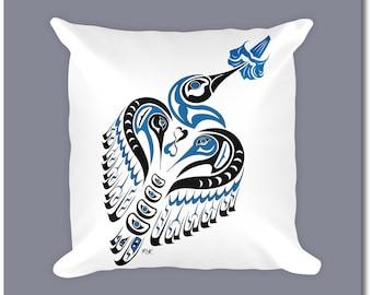 "Haida Art Style Hummingbird Throw Pillow - ""Matriarch"" - Pacific Northwest Coast Art Home Decor"