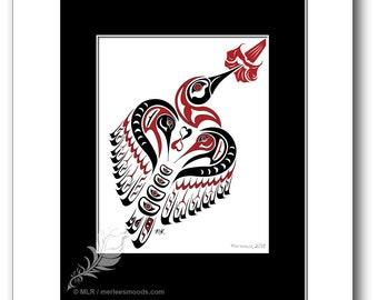 "Haida Style Hummingbird Art Print - ""Matriarch"" -  Pacific Northwest Coast Style Hummingbird Art Print - 8x10, RED"