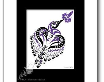 "Haida Style Hummingbird Art Print - ""Matriarch"" -  Pacific Northwest Coast Style Hummingbird Art Print - 8x10, PURPLE"