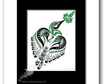 "Haida Style Hummingbird Art Print - ""Matriarch"" -  Pacific Northwest Coast Style Hummingbird Art Print - 8x10, GREEN"