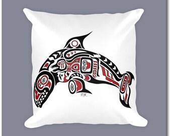 "Haida Art Style Killer Whale Throw Pillow - ""Pacific Dream"" - Pacific Northwest Coast Art Orca Home Decor"