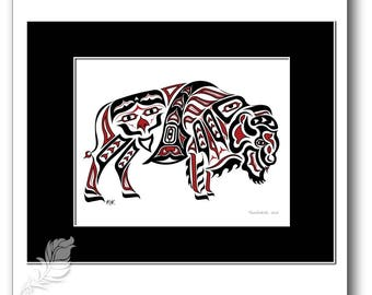 "Haida Style Buffalo Art Print - ""Thunderer"" -  Pacific Northwest Coast Style Bison Art Print - 8x10, RED"