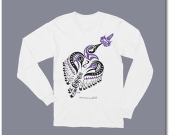 "Haida Style Hummingbird Long Sleeve Shirt - ""Matriarch"" - Pacific Northwest Coast Hummingbird Art Tee (Sml - 2XL)"