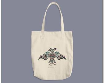 "Haida Style Thunderbird - Cotton Canvas Tote - ""Thunderbird"" - Pacific Northwest Coast Art Shopping Bag"