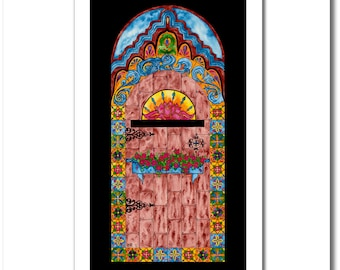 """Fine Art India Ink Painting - Limited Edition - """"Stained Glass"""" Collection - """"Spanish Door"""" - 12x20 Giclee Print"""