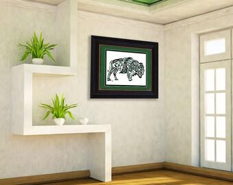 "Haida Art Style Buffalo - ""Thunderer"" - Fine Art Print, Giclee Print, Poster Print of Pacific Northwest Coast Bison Art"