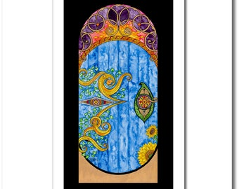 """Fine Art India Ink Painting - Limited Edition - """"Stained Glass"""" Collection - """"Elvish Door"""" - 12x20 Giclee Print"""