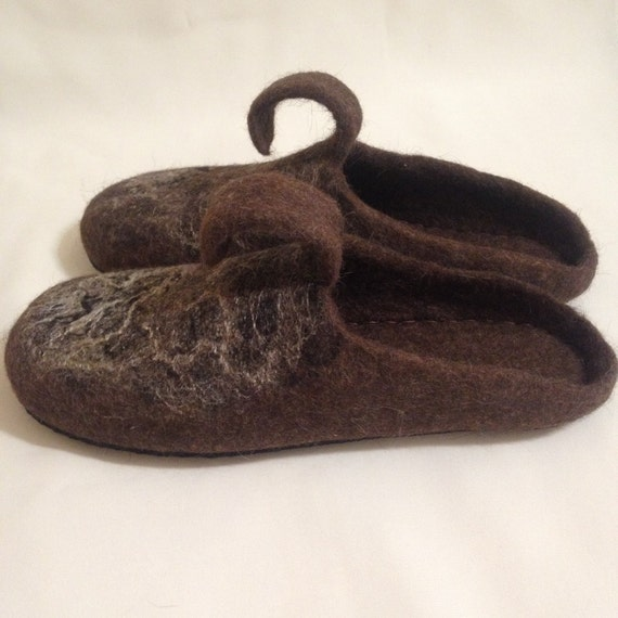 Sale Mens Felted Organic Wool Slippers House Shoes Etsy
