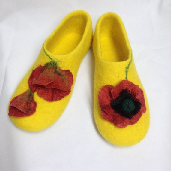Organic House Felted wool gift for Yellow slippers sheep wool Slippers Woman her clogs Felted Christmas Gift shoes w4cqS1B