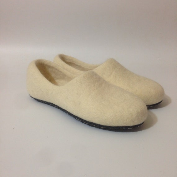 89b8a73ac4056 White felted wool slippers for women Winter footwear fashion Warmest home  shoes Rubber soles Christmas gift for mommy