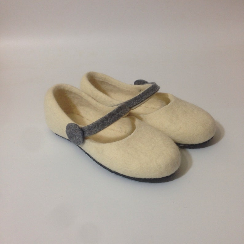 3653d2cc2da14 White felted wool slippers Mary Jane style Rubber soles Magic shoes Women's  home shoes Christmas gift