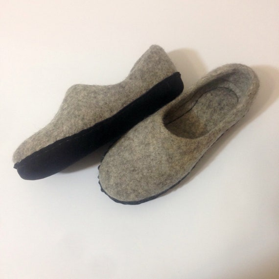 05ab90704b053 Gray felted wool slippers for women Warming home shoes Leather soles  Natural wool Christmas gift