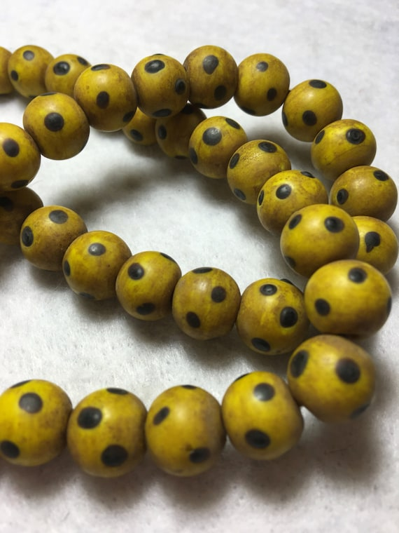 Fädelloch 1mm #9723 RosyBrown 6mm Natural Yellow Jade Beads Perlen 70St
