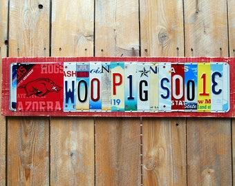 WOO PIG SOOIE - Arkansas Razorbacks license plate sign - tailgate / alumni / graduation gift