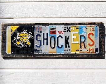 SHOCKERS logo - Wichita State University license plate sign / tailgate / alumni / football sign / graduation gift / gift for guy / mancave
