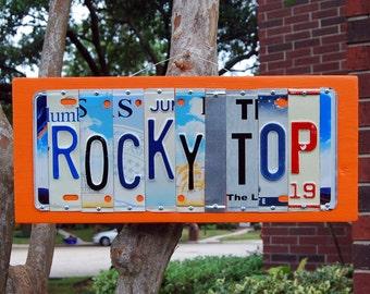 ROCKY TOP -  University of Tennessee Volunteers - custom license plate sign / tailgate / alumni / graduation gift