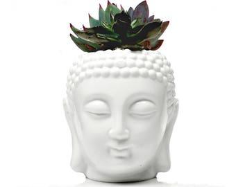 Buddha, Buddha Statue, ceramic Planter, Succulent planter, gift for her, gift for mom, office decor, pen holder, makeup brushes organizer