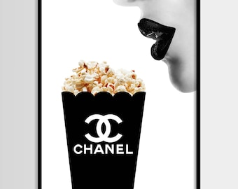 Chanel print, Modern print, Fashion art, Chanel, Minimalist, Digital art, Pop corn, Printable, Digital print Instant Download 11x14,16x20