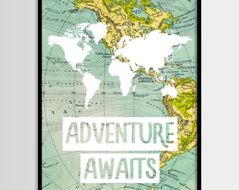 Adventure awaits print, Travel quote, World map, Adventure quote, Digital art, Printable art, Digital poster Instant Download 8x10