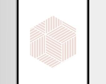 Abstract print, Modern art, Fashion art, Geometric print, Dusty Pink, Digital art, Printable art, Digital Instant Download 11x14, 8x10