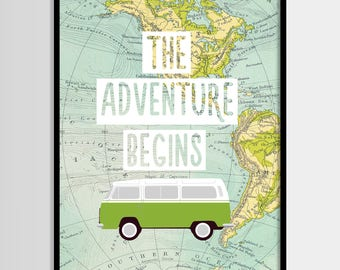 The adventure begins print, Travel quote, World map, Adventure quote, Digital art, Printable art, Digital poster Instant Download 8x10