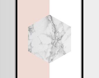 Abstract print, Modern print, Fashion art, Geometric, Pink, Gold, Marble, Minimal, Digital art, Printable art, Instant Download 11x14, 8x10